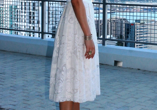 Champagne & Strawberry Lace Midi Skirt